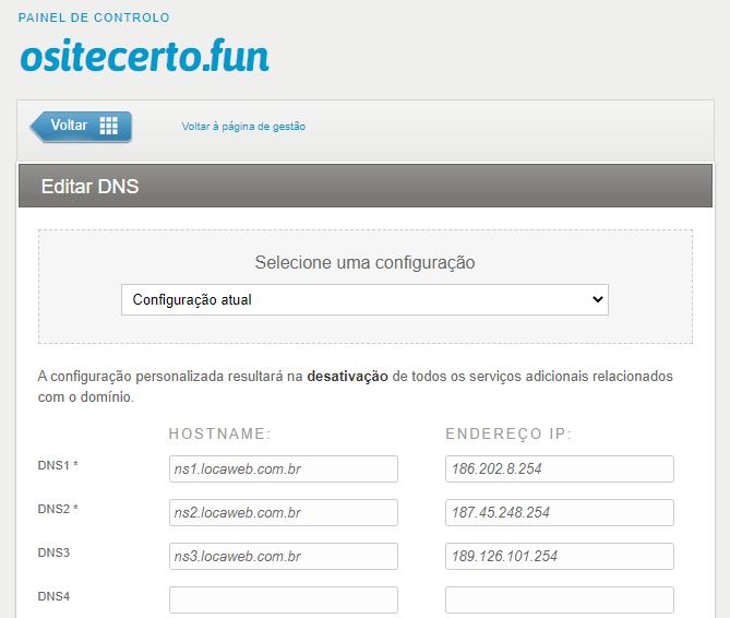 HOSTNAME DNS de um Dominio e ENDEREÇO IP como informação requerida.